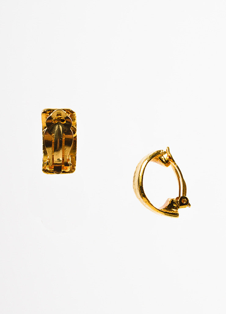 Gold Toned Chanel Hammered Wide Huggie Clip On Earrings Sideview
