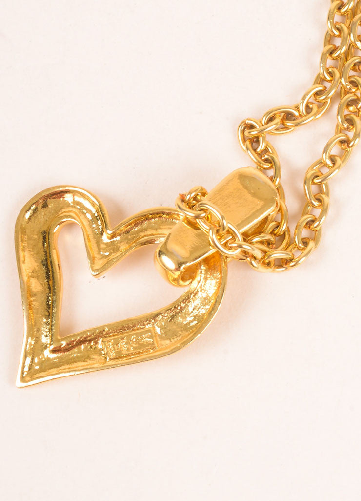 Yves Saint Laurent Gold Toned Open Heart Pendant Necklace Brand