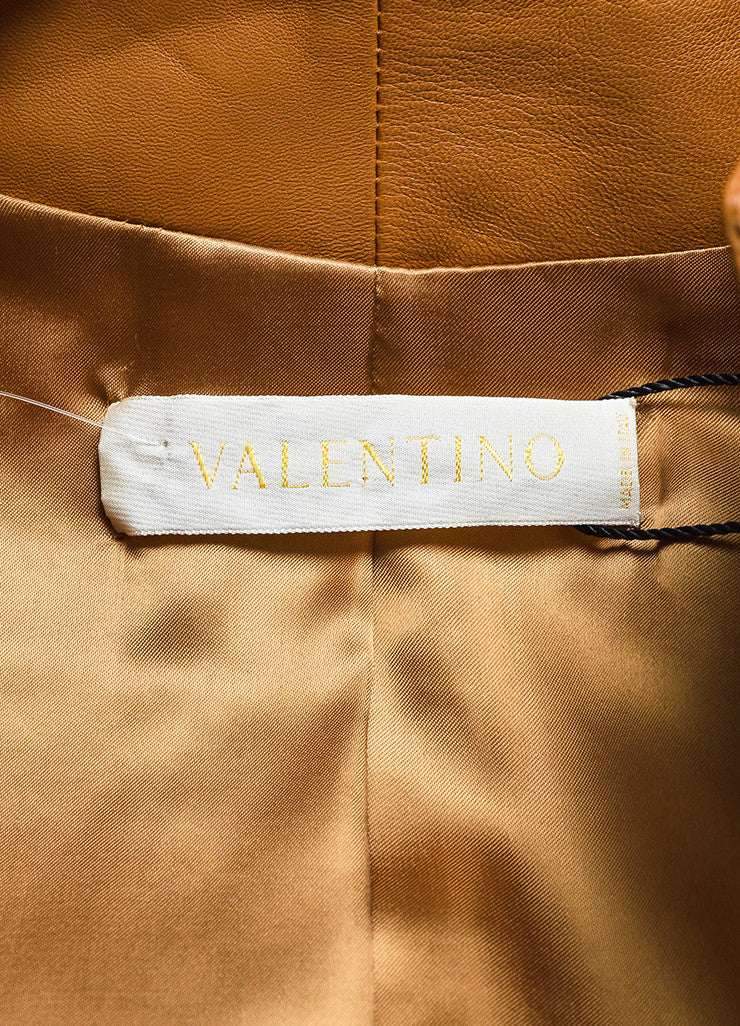 Valentino Camel Tan Leather Stitch Trim Belted Jacket Brand