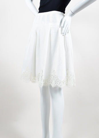 White Valentino Lace Trim Scalloped Knee Length A-Line Skirt Sideview