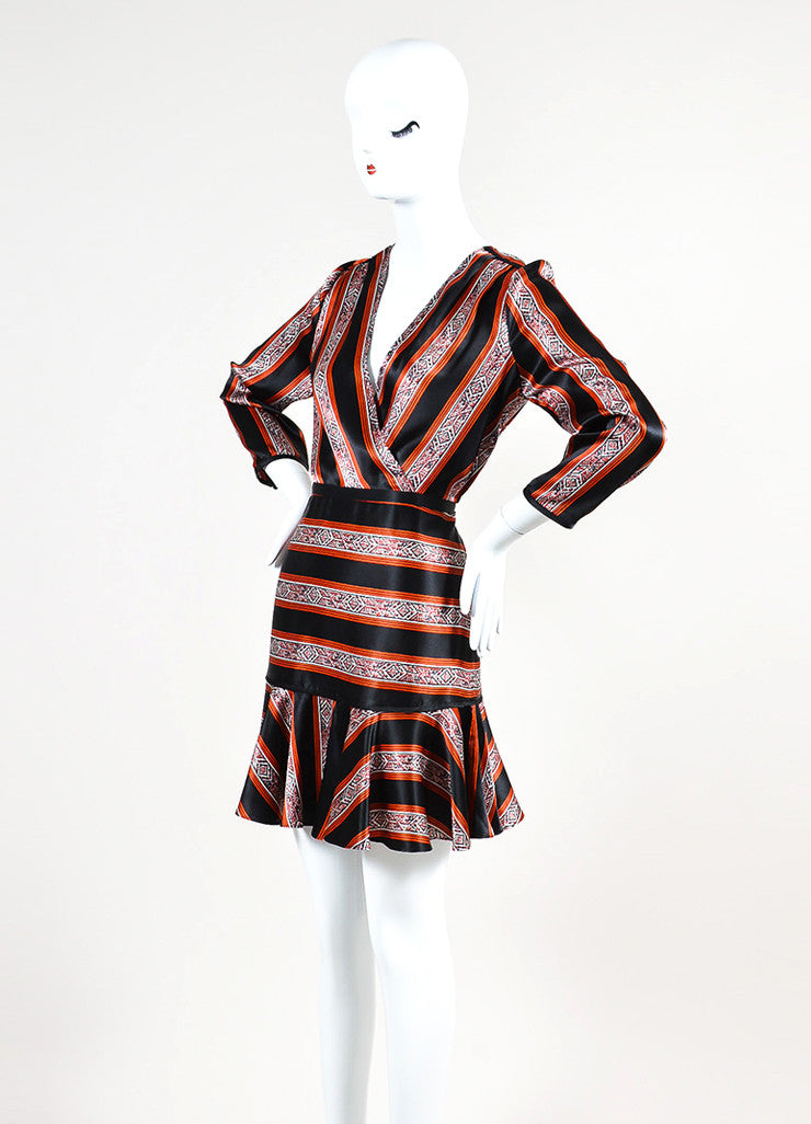 "Veronica Beard Black, Red, and White Silk Patterned Stripe ""Ivy"" Dress  Sideview"