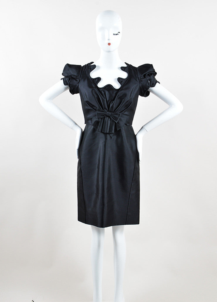 Black Zac Posen Silk Structured Swirl Trim Short Sleeve Dress Frontview