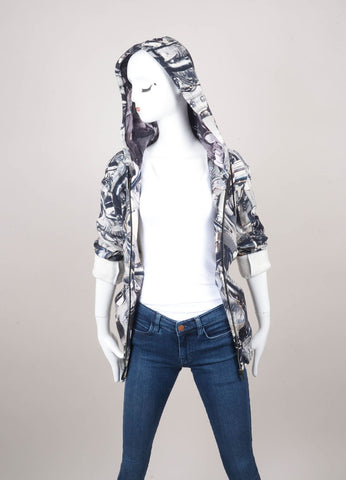 New Black and White Chrome Print Zip Up Cotton Hoodie