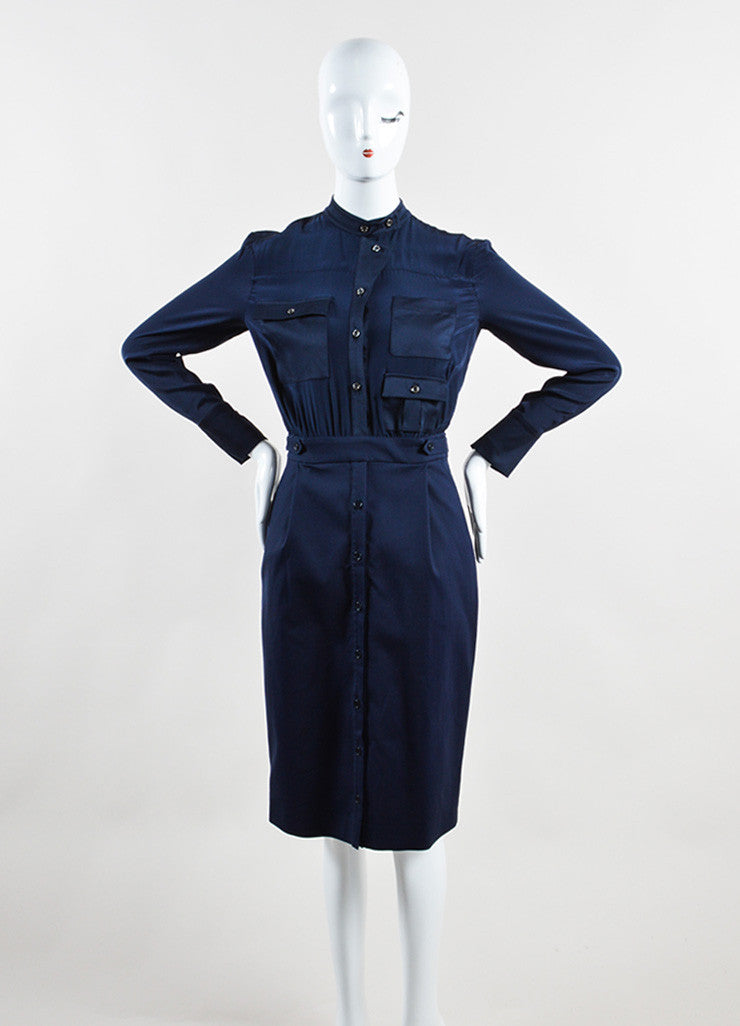 Altuzarra Navy Silk and Cotton Long Sleeve Button Up Sheath Dress Frontview