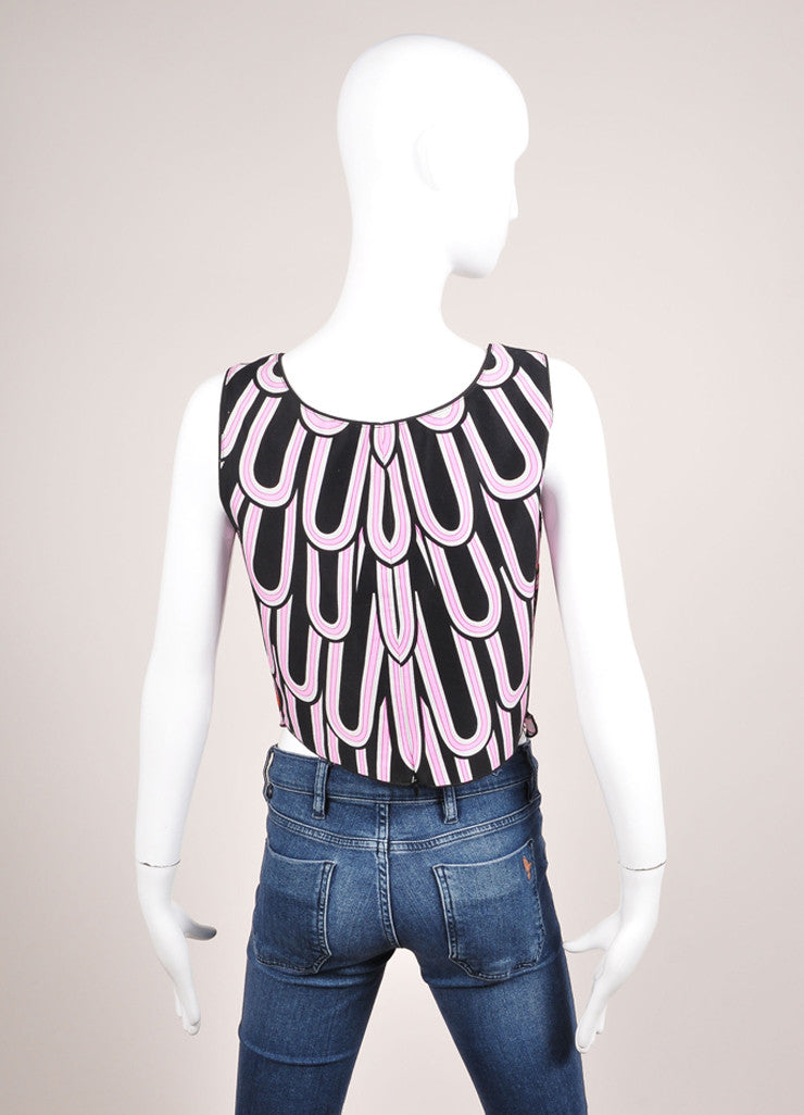 Anna Sui Pink, Black, and Multicolor Scalloped Sleeveless Cotton Crop Top Backview