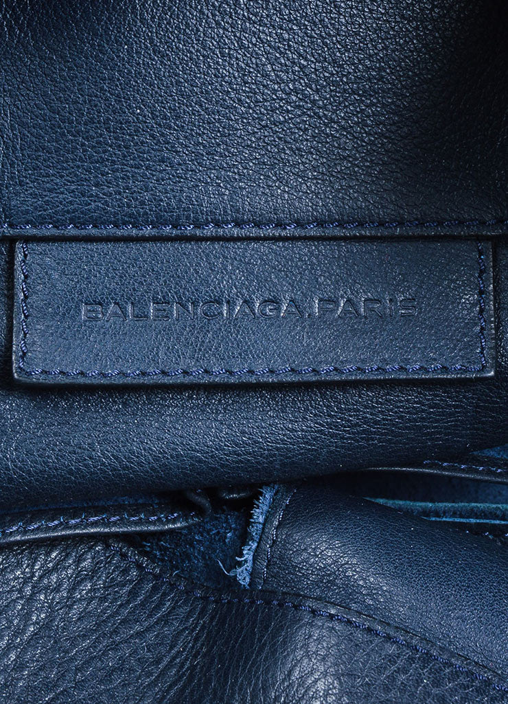 "Black and Dark Blue Leather Balenciaga Moto ""Papier Flap"" Tote Bag Brand"