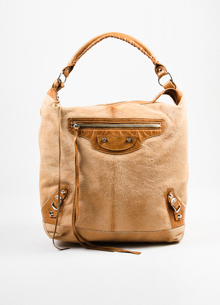 "Balenciaga Tan Pony Hair Leather Trim ""Classic Day"" Hobo Bag Frontview"