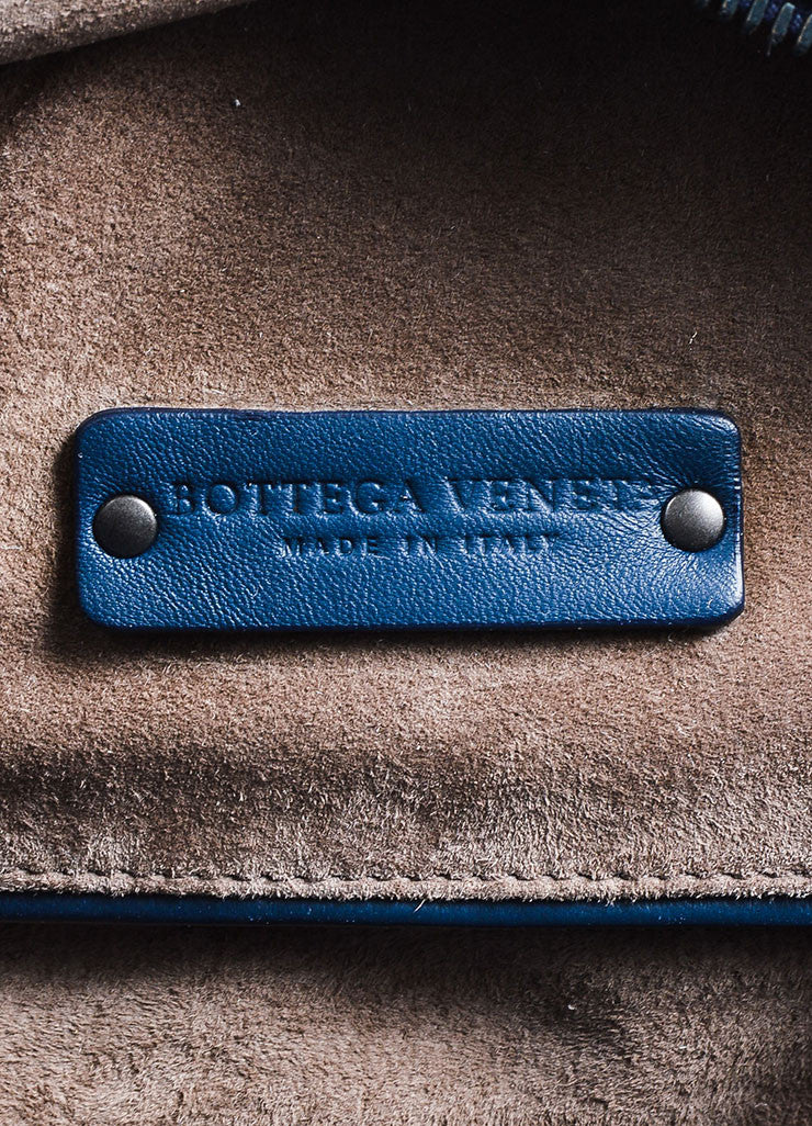 "Navy Bottega Veneta Leather Woven ""Intrecciato Weekend Bag"" Duffle Bag Brand"