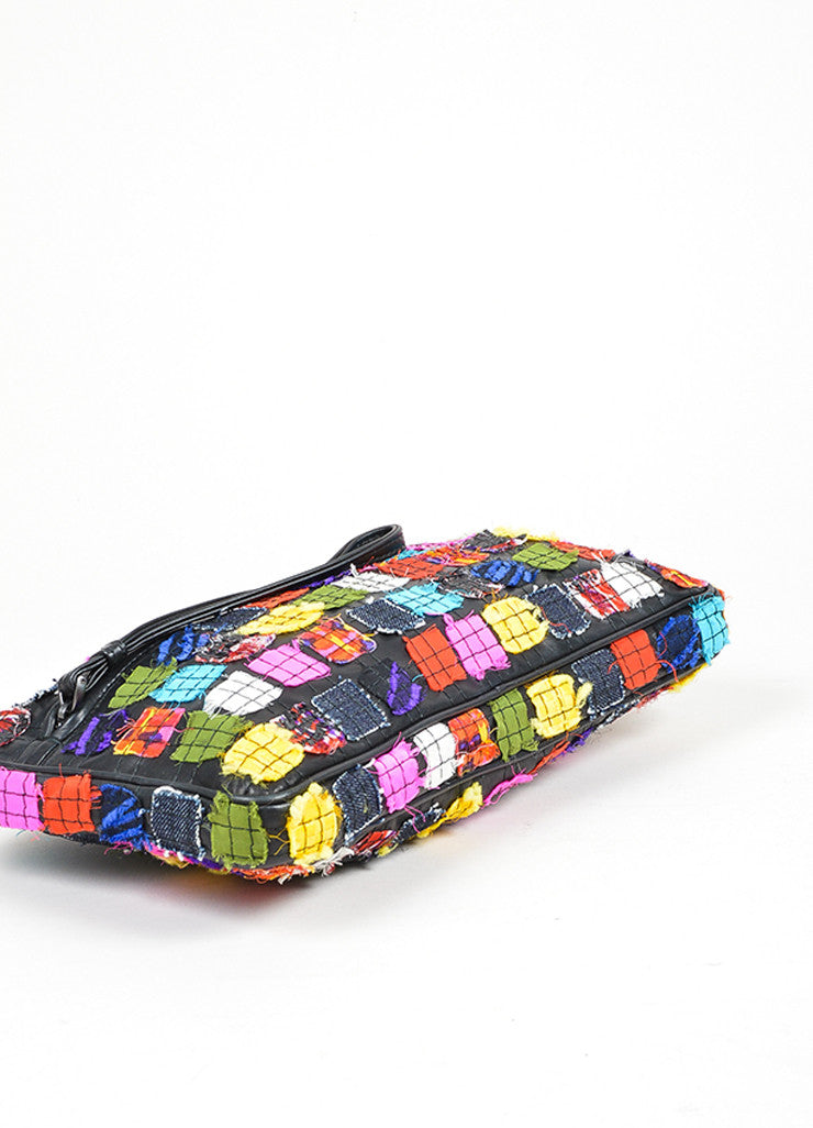 Black and Multicolor Bottega Veneta Patchwork Leather Oblong Zip Mirror Pull Clutch Bottom View