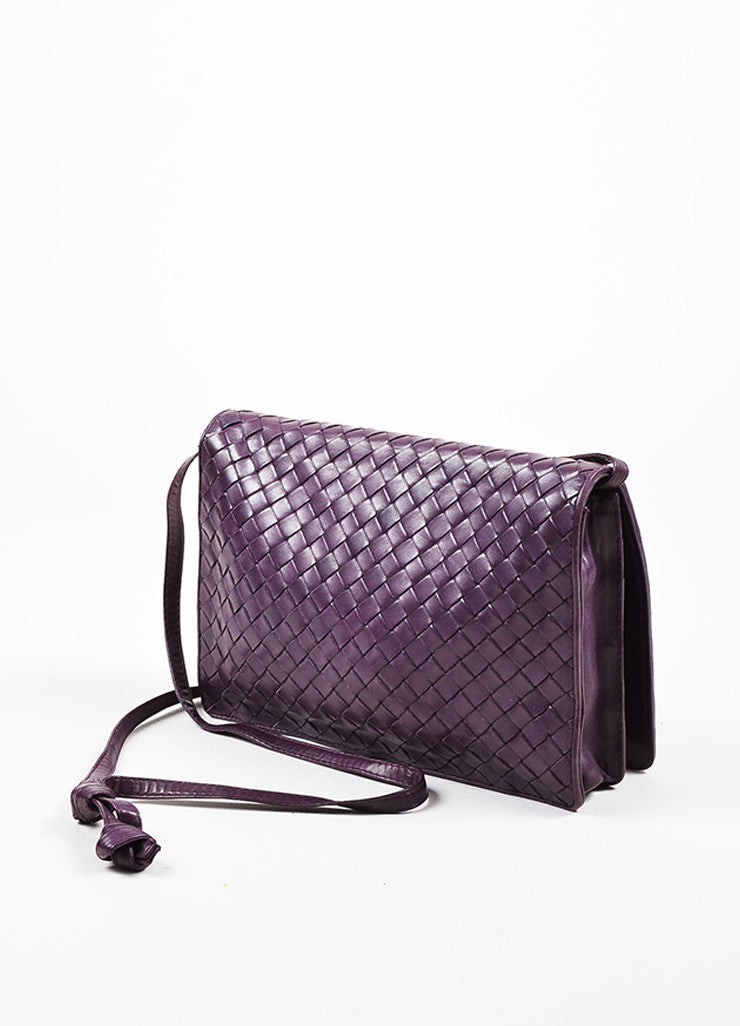 Bottega Veneta Purple Woven Leather Shoulder Flap Bag Sideview