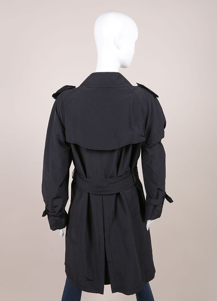 Burberry Black Long Lightweight Cotton Trench Coat  Backview