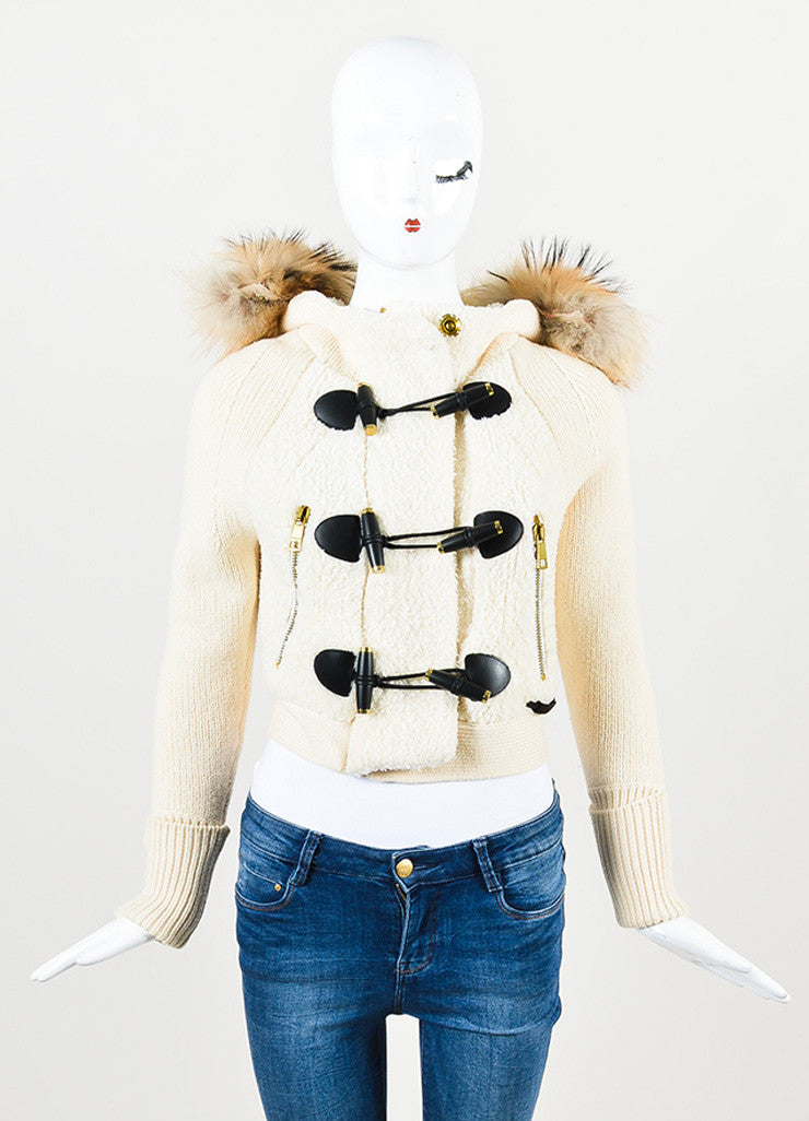 Burberry Brit Cream, Black, and Brown Wool and Fur Trimmed Hooded Toggle Jacket Frontview 2