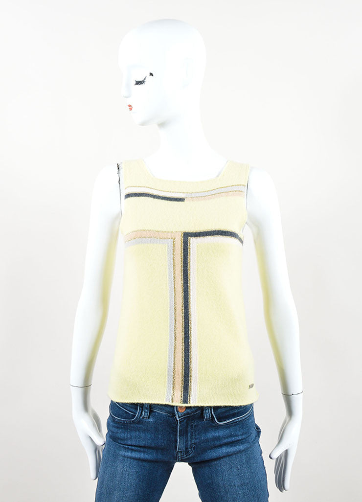 Chanel Yellow Multicolor Cashmere Striped Sleeveless Top Front