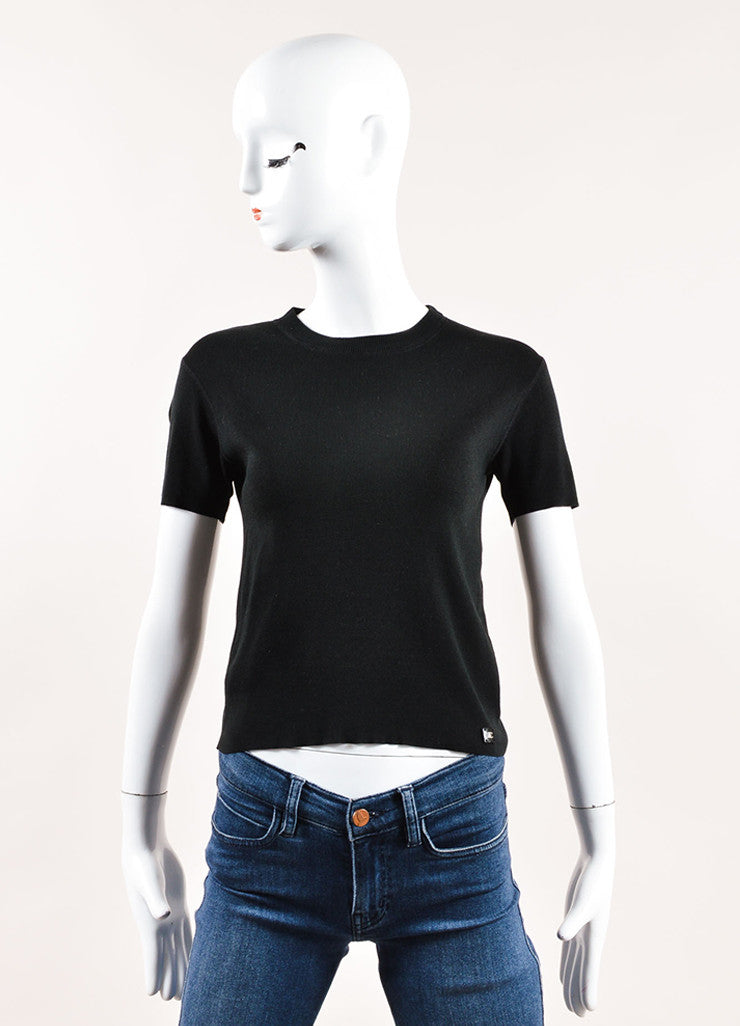 Chanel Black Stretch Knit Crew Neck Short Sleeve Tee Frontview