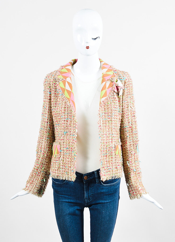 Chanel Tan and Multicolor Tweed Ribbon Knit Flower Jacket Frontview