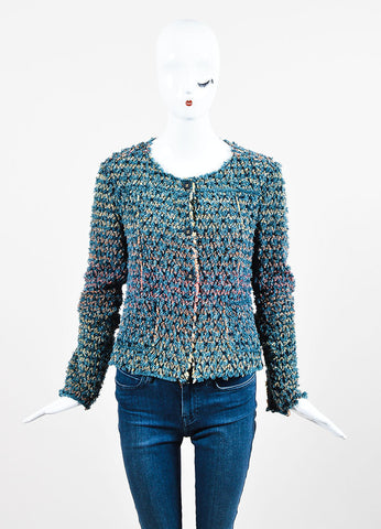 Blue, Red, and Yellow Chanel Cotton Shag Crochet Cardigan Sweater Frontview 2