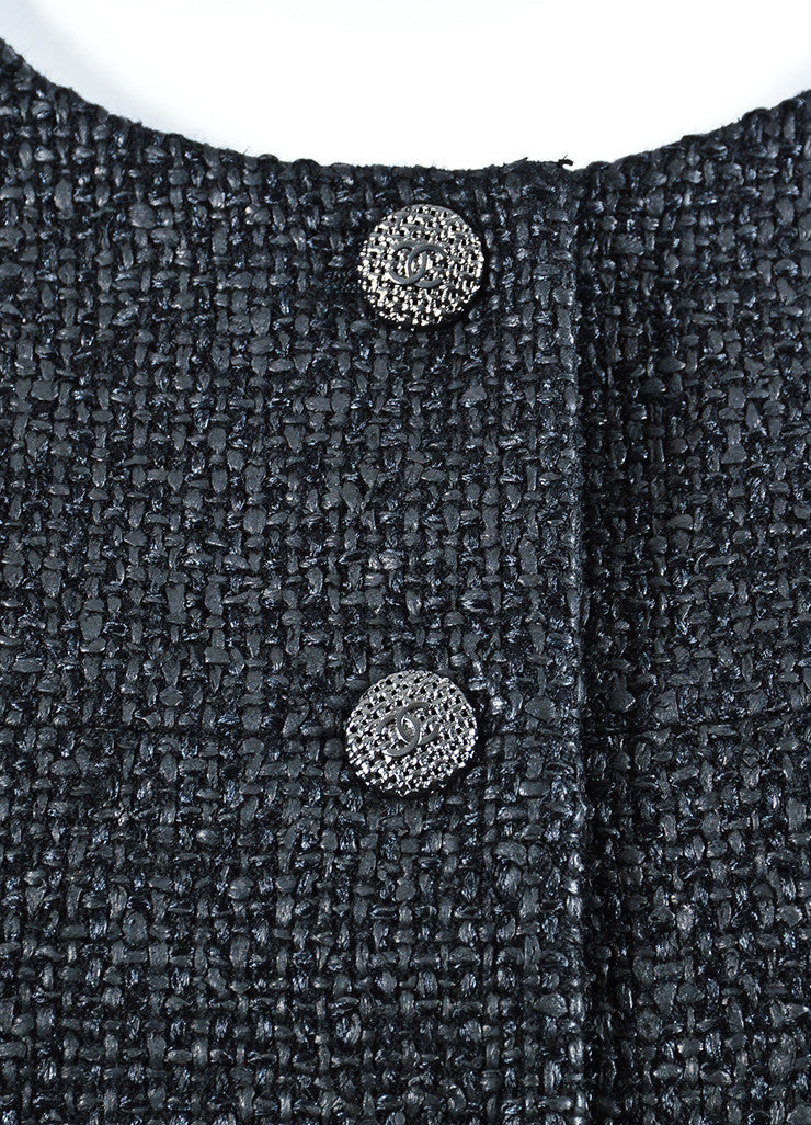 Black Chanel Coated Tweed 'CC' Button Collarless Jacket Detail