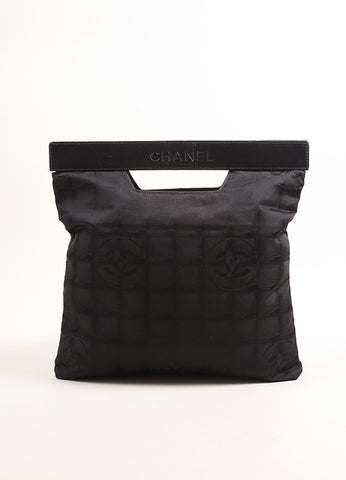 "Chanel Black Nylon Leather Handle Checkered ""CC"" Monogram Clutch Bag Frontview"