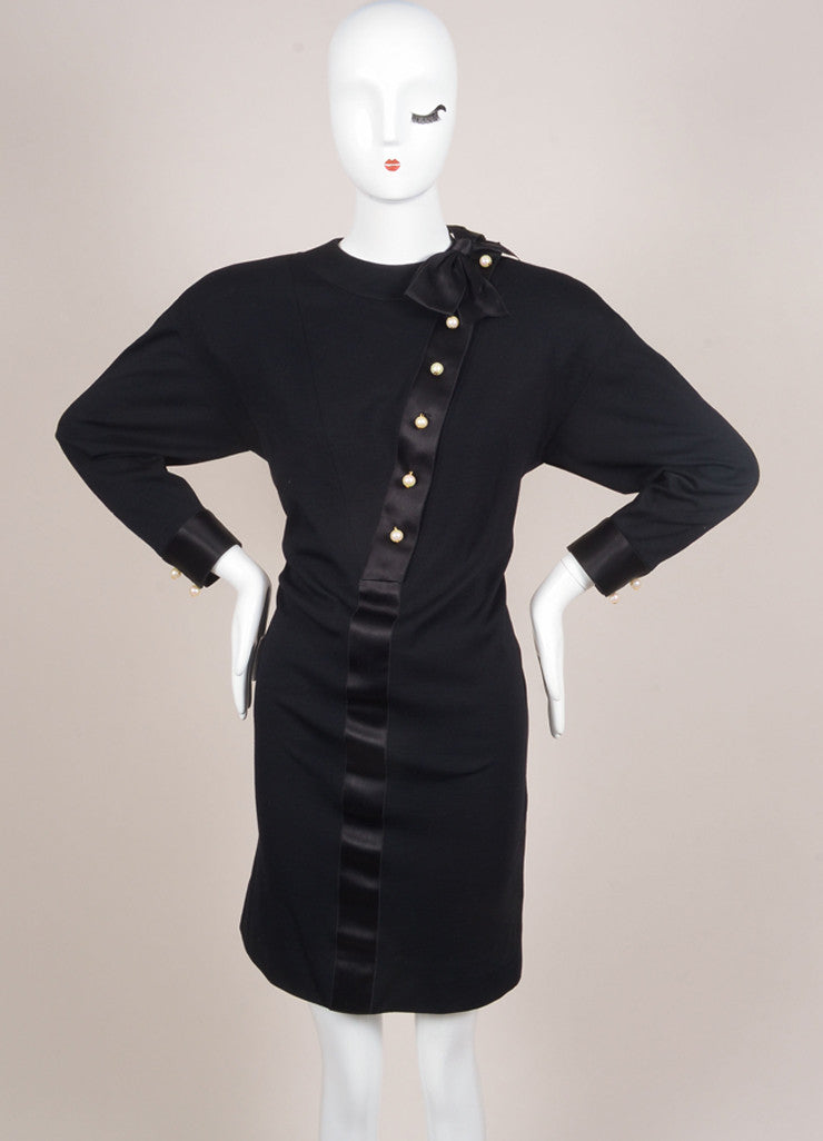 Chanel Black Wool and Silk Faux Pearl Embellished Bow Long Sleeve Shift Dress Frontview
