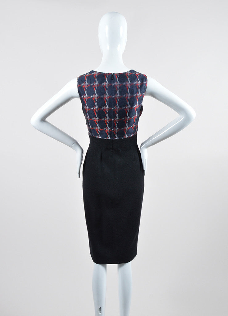 Black, Navy, and Red Chanel Silk and Wool Sheath Dress Backview