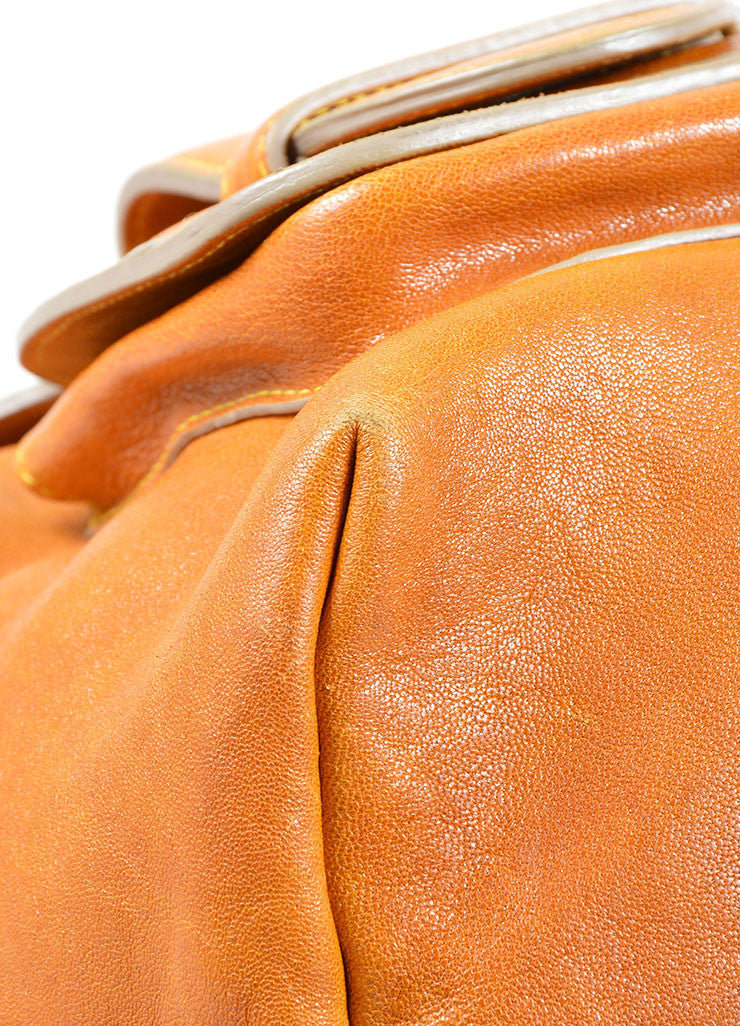"Chloe Brown Leather Acrylic Handle Pocket ""Saskia"" Zip Tote Bag Detail"