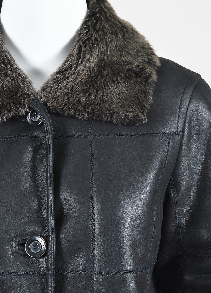 Christ Black and Brown Leather Shearling Seamed Jacket Detail