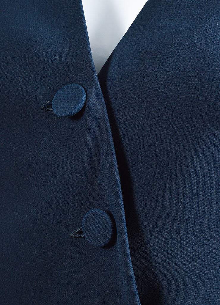 "Christian Dior Navy ""Bleu Marine"" Silk Wool Buttoned Long Sleeve Gown Detail"