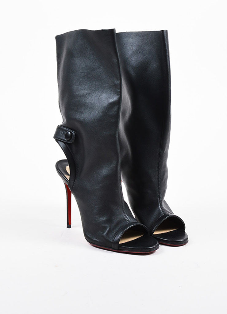 "Christian Louboutin Black Leather Open Heel ""Mistinguetre"" Boots Frontview"