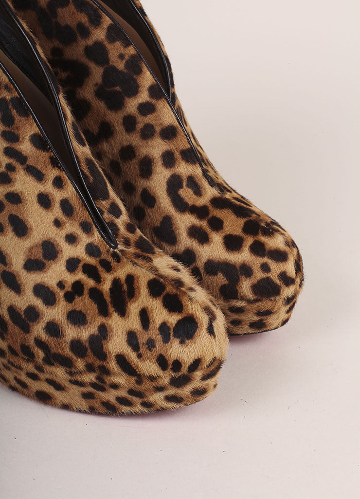Christian Louboutin Cheetah Print Pony Hair Miss Fast Plato Booties Detail