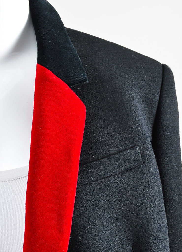 Black and Red Christopher Kane Wool and Velvet Long Sleeve Blazer Jacket Detail