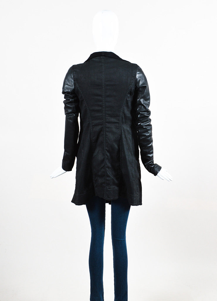 "DRKSHDW Rick Owens Black Leather Wax Cotton Draped Neck ""Exploder"" Jacket backview"