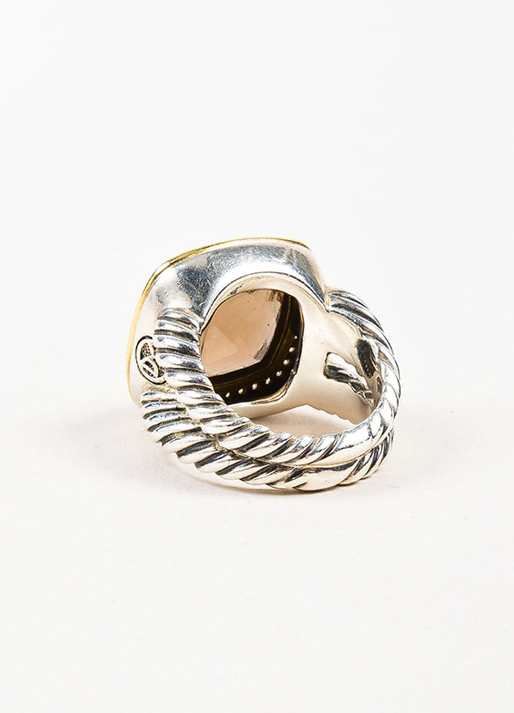 "David Yurman Sterling Silver, 18K Gold, and Smoky Quartz Diamond ""Albion"" Ring Backview"