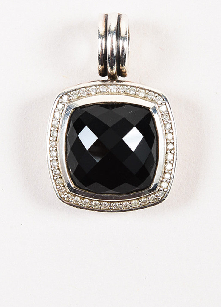 "David Yurman Sterling Silver, Black Onyx, and Pave Diamond ""Albion"" Pendant Enhancer Frontview"