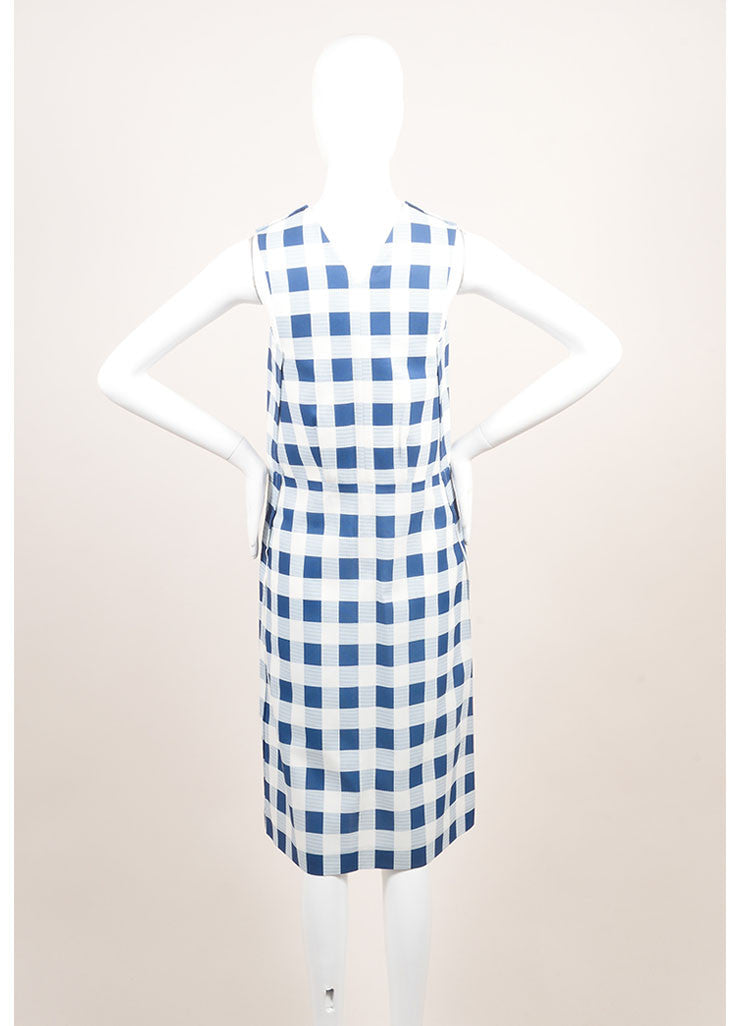 Derek Lam New With Tags Blue and White Checkered Plaid Silk Blend Sleeveless Dress Backview