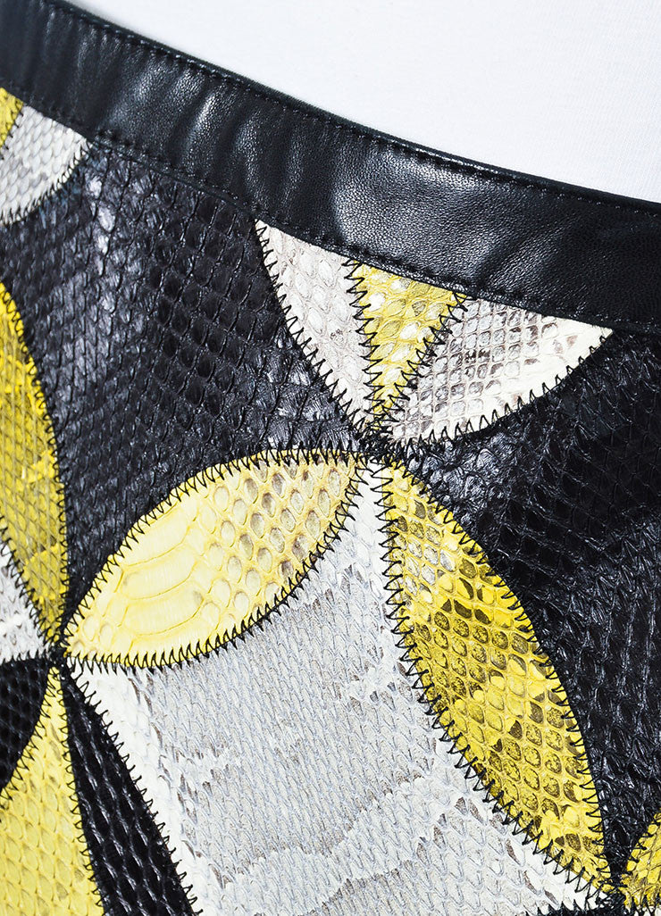 Yellow, White, and Black Derek Lam Seasnake Leather Pencil Skirt Detail