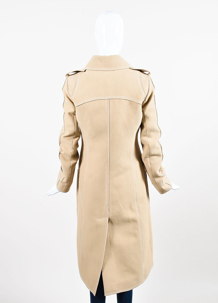 Beige and White Derek Lam Silk Blend Patch Pocket Trench Coat Backview