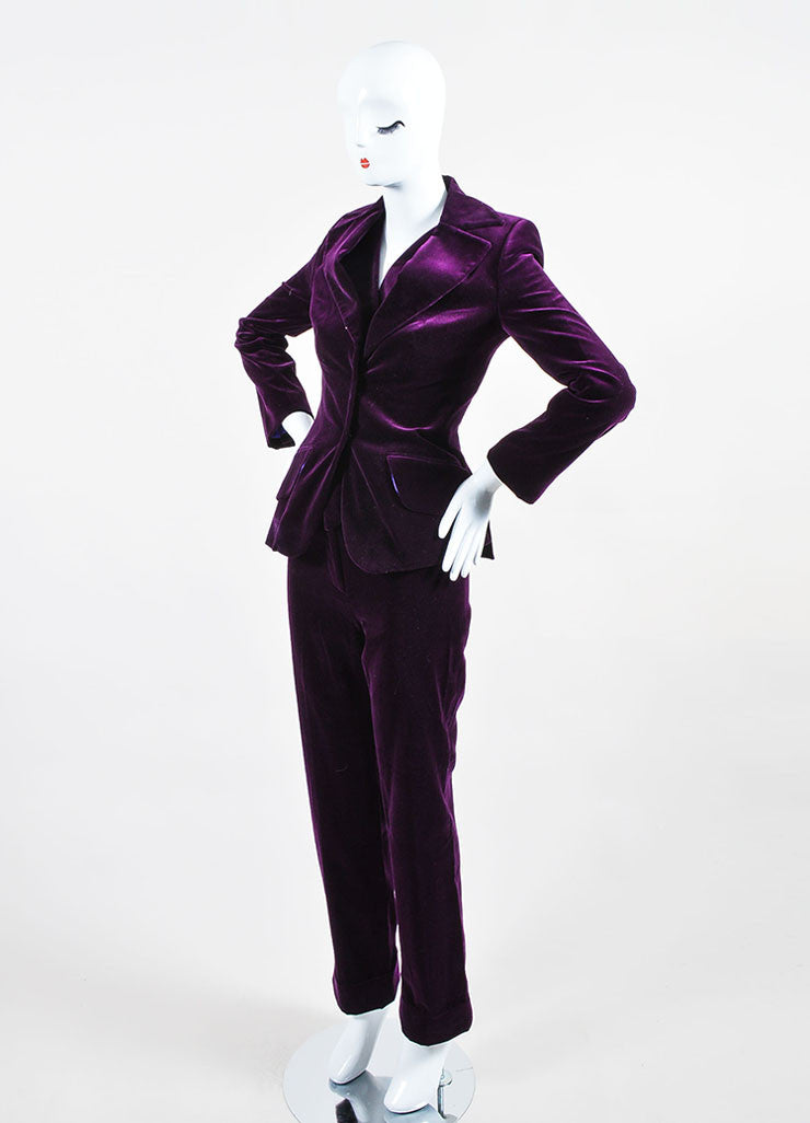 Dolce & Gabbana Purple Velvet 3 Piece Long Sleeve Jacket Vest Pants Suit Sideview