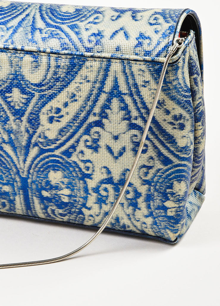 Dries Van Noten Blue and Grey Leather Textured Printed East West Flap Shoulder Bag Detail 2