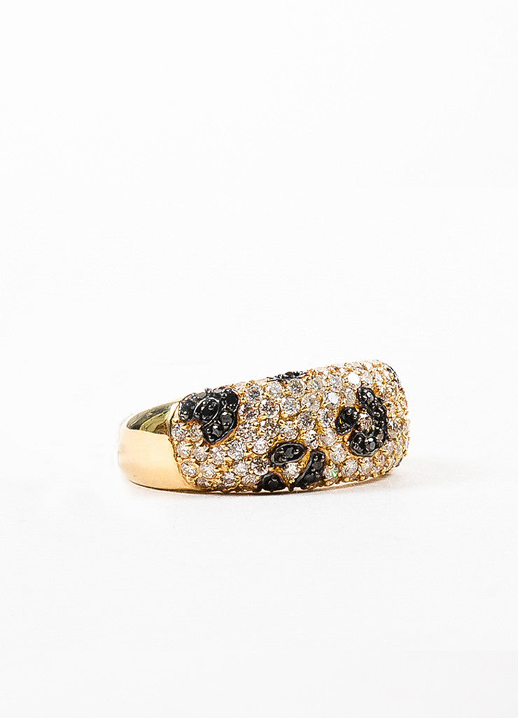Effy 14K Yellow Gold Black Diamond Spotted Animal Print Ring Sideview