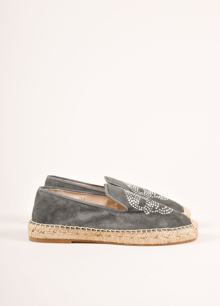 Elyse Walker New In Box Grey Suede Rhinestone Skull Espadrille Flats Sideview