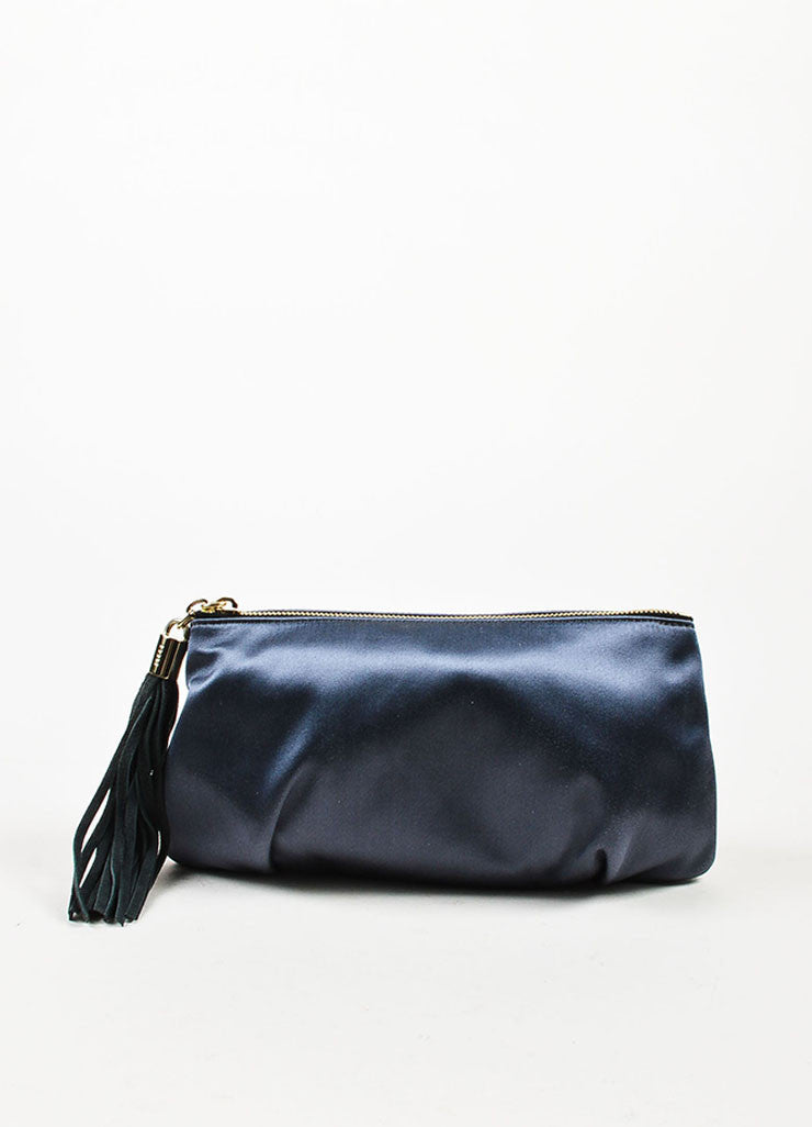 å´?ÌÜEmilio Pucci Steel Blue Grey Satin Suede Tassel Zip Clutch Pouch Bag Frontview
