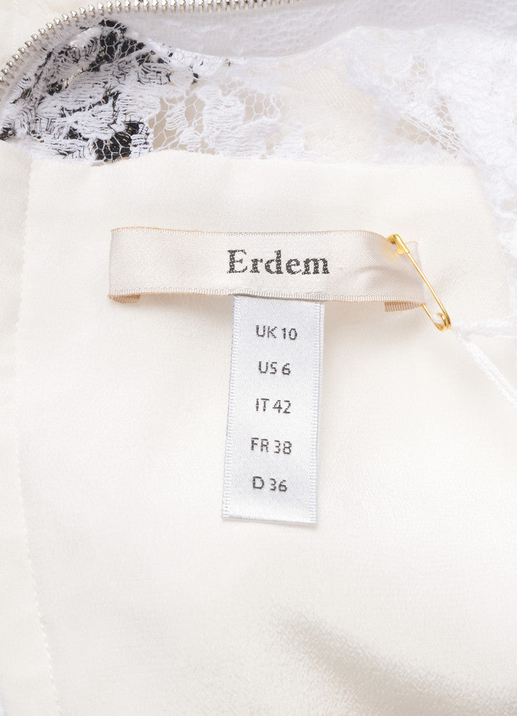 "Erdem New With Tags White and Black Floral Lace Matelasse Sleeveless ""Kent"" Dress Brand"