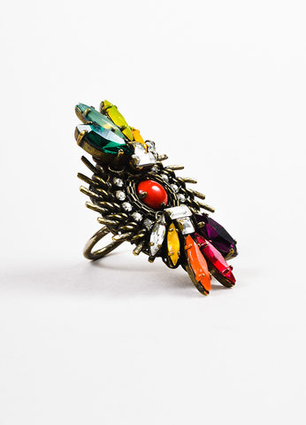 Erickson Beamon Brass Multicolor Swarovski Crystal Jeweled Cocktail Ring Sideview