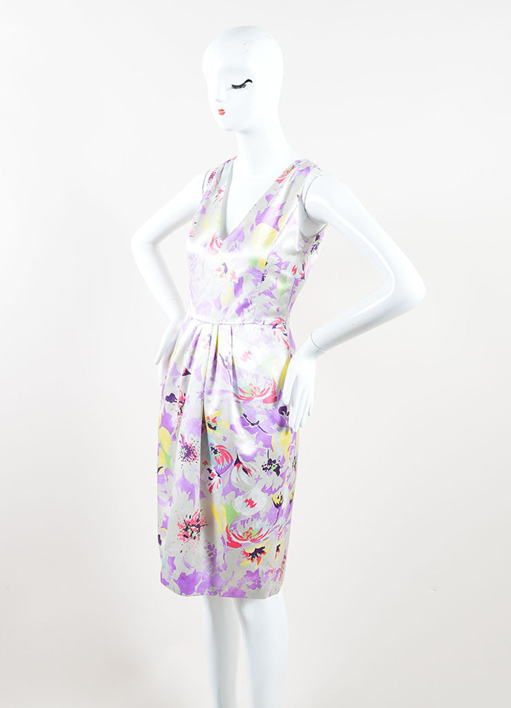 Etro Multicolor Floral Print Sleeveless Pleated Dress Side