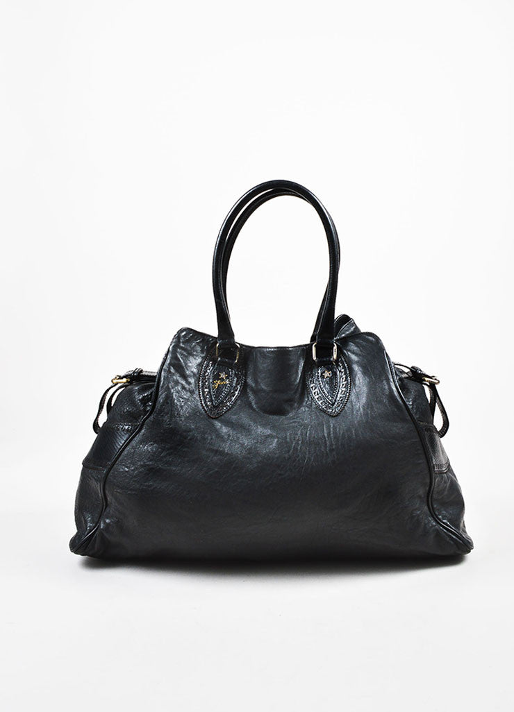"Fendi Black Leather Top Handle Oversized ""Du Jour"" Shoulder Tote Bag Frontview"