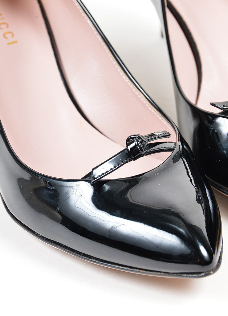 "Black Gucci Patent Leather Bow Pointed Toe ""Beverly"" Heel Pumps Detail"