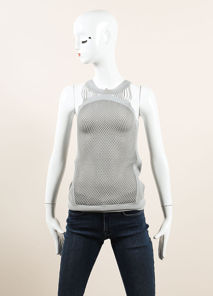 Gucci Grey Stretch Mesh Knit Ribbed Sleeveless Top  Frontview