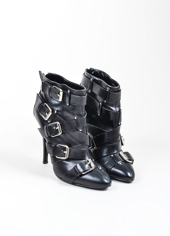 Black Giuseppe Zanotti for Balmain Leather Buckle Cross Strap Ankle Boots Frontview