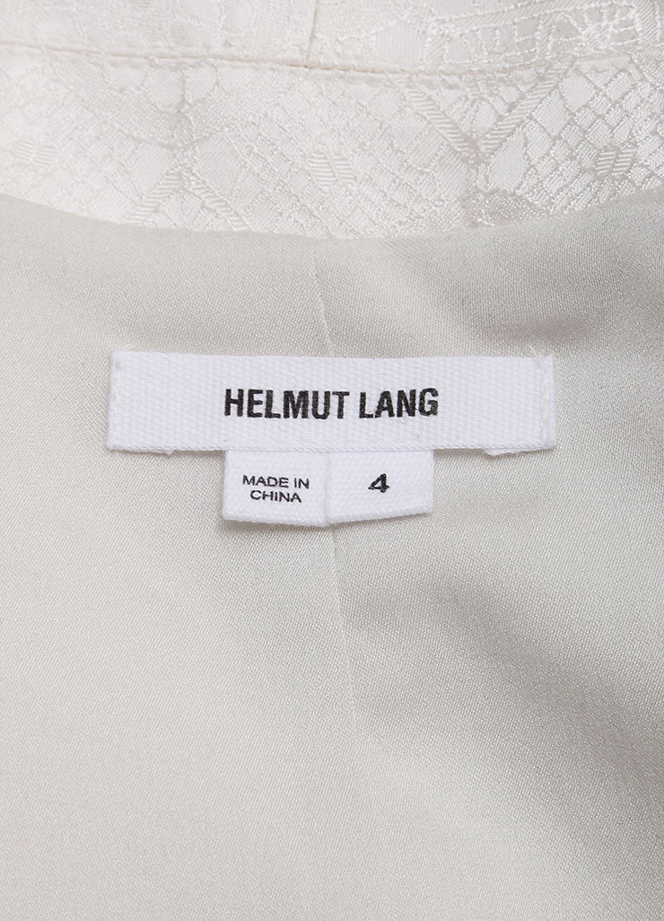 Helmut Lang White Woven Brocade Tailored Cropped Blazer Brand