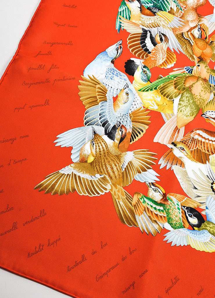"Hermes Orange and Multicolor Silk ""L'Intrus"" Bird Print Square Scarf Detail"